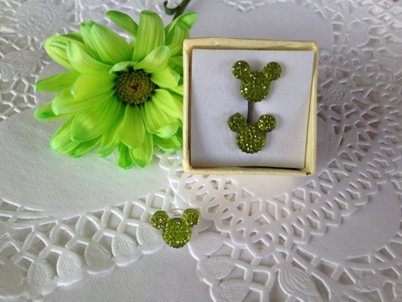 Hidden MOUSE EARS Cuff Links & Tie Tack for Wedding Party Lime Acrylic Gift Box Included FREE