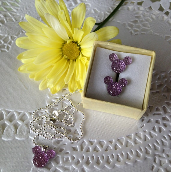 MOUSE EARS Necklace and Earrings Set for Themed Wedding Party in Dazzling Lilac Acrylic