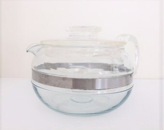 Vintage Pyrex Flameware Glass Teapot 6 Cup