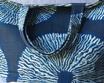 Navy Blue Screen Print Shibori Sol  Tote Bag
