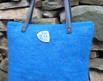 Purse Turquoise Wool Hand Knitted Felted Custom Lined