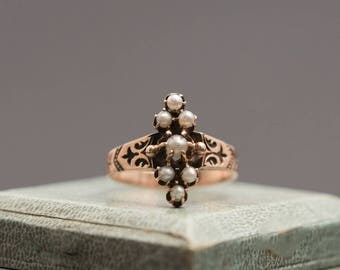 Victorian 9K Rose Gold Pearl Ring