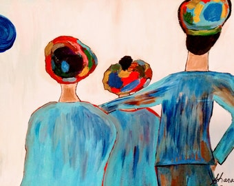 Family vacation,family art,family painting,blue art, head covering,headwrap,mom dad,daughter art,family trip,family on the beach painting