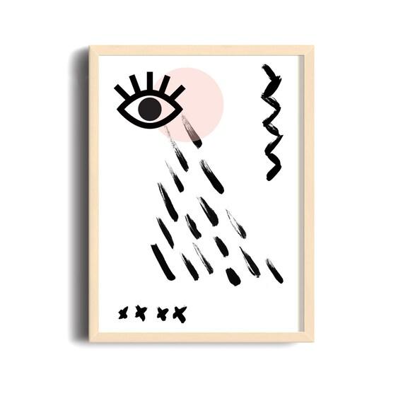MAUVAIS OEIL 005 // Abstract art, 12x18, minimalist art print, geometric print, Scandinavian style, nordic design, pink, eye