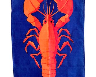 Vintage Tea Towel Lobster Ulster Linen Textile Kitchen Wall Hanging NOS New Old Stock