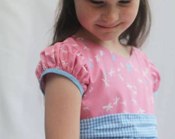 "Girls Party Dress PDF sewing pattern ... Aurora's Party Dress plus matching 18"" doll dress pattern"