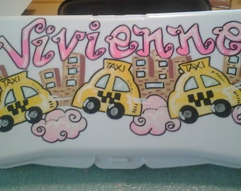 Personalized Handprinted Baby Wipes Refillable Case Girls Happy Taxis