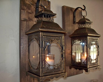 Set Of 2 Lantern Pair Wall Decor, Bronze Wall Sconces, Housewarming Gift,  Bathroom Part 64