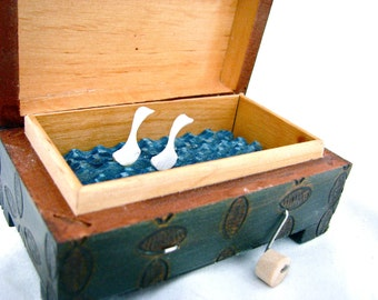 kinetic art sculpture, paper swans automaton, bird home decor, small wooden box, carved chest