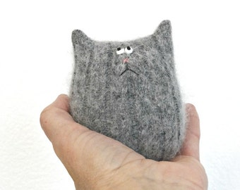 Stuffed Animal Cat Doll - Gray Angora Cat - Fluffy Cat - Tiny Cat - Cat Lover Gift - Soft Toy - Plush Toy - Stuffed Toy - Gray Kitten Doll