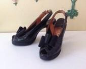 Reserved for Emelie 40's Black Peep Toe Bow Pumps Leather Shoes Heels Platform Bullocks 6