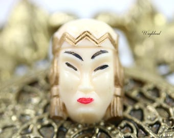 Vintage Asian Princess Face Woman Head Cabochon Light Beige - 1