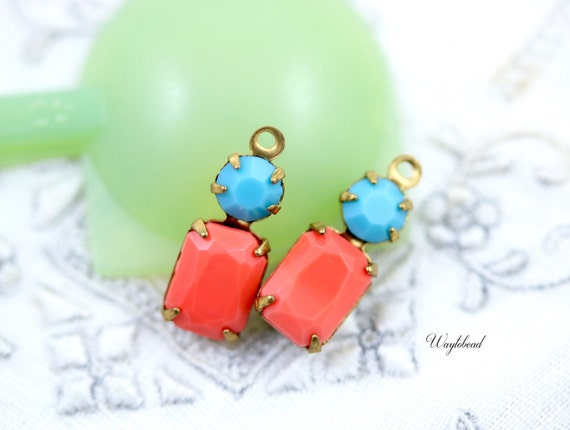 Coral & Turquoise 16x6mm Vintage Glass Octagon Stone Swarovski Crystal Bracelet Connector Brass Prong Settings Faceted Set Stones - 2