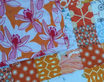 Orange and White Scrap Quilt