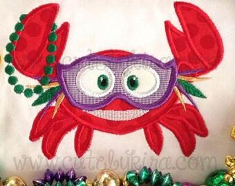 Mardi Gras Crab Applique Machine Embroidery Design (DIGITAL ITEM)