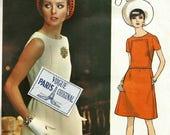 Vintage 60s Vogue Paris Original 2048 Misses Mod A-Line Dress with Seam Detail Sewing Pattern by Larouche Size 12 Bust 34 Plus Label