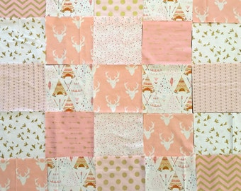 Modern, Baby, Girl, Quilt, Kit, DIY, Rag, Blanket, Kit, Pink, Cream, Gold, Deer, Tee, Pee, Birds, Metallic, Cotton, Flannel, Ready to Sew