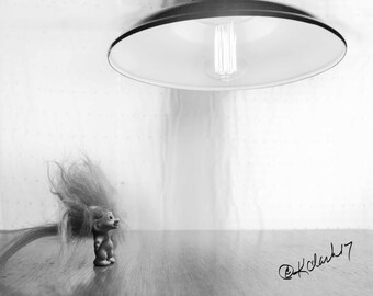 You are my Sunshine Fine Art Photography Black and White Troll antique light bright white humor and minimal home style Quirky Smile Laugh