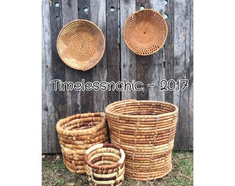 Large Baskets - Woven Basket - Storage Basket - Planter Basket - Vintage Baskets - Mid Century - Husk Leaves Basket  - Baskets - Basket Set