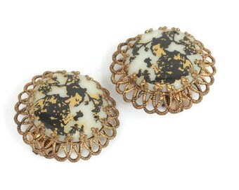 Japanese Geisha Earrings Cherry Blossoms Black and Gold W Germany Clip Style