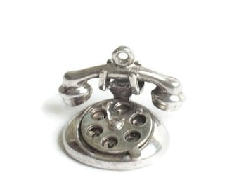 Sterling Rotary Dial Telephone Charm Movable Dial Spells I Love U