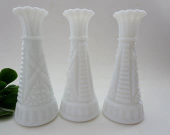 Vintage Milk Glass Bud Vases - Three Anchor Hocking Stars and Bars Pattern Vases - Milk Glass Instant Collection Bud Vases