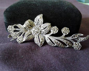 Vintage Floral Brooch - Stering Silver and Marcasite Brooch