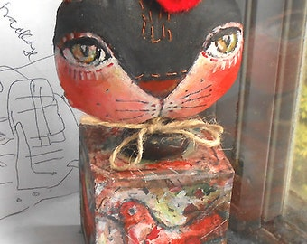 Original folk art doll Cat with birds  on the cube OOAK by miliaart studio