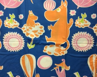 Moomin blue orange Cotton Fabric for various projects, from Finland