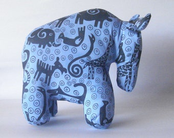 Wildebeest Gnu silk-screened blue denim Stuffed Standing Plush toy animal handmade