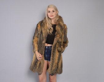 Vintage 70s Fur COAT / Boho 1970s Striped Raccoon Fur Mid-Length Cozy Coat XS - S
