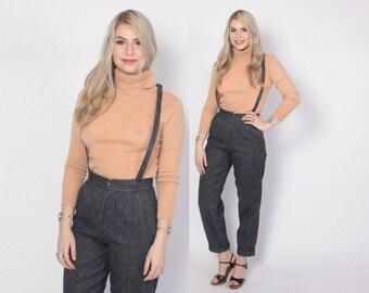 Vintage 80s DENIM OVERALLS / 1980s Striped Suspender Jeans XS