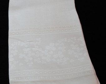 Irish Linen White Hand Towel with Irish Shamrocks