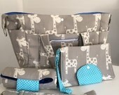 XL Grey Giraffe Nappy Bag, Nappy Mat Nappy Wallet - Aqua Pocka Dots for Closures USE mishmash16 to get 15% off your order