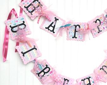 HAPPY BIRTHDAY Banner CUPCAKE Theme Party Decorations Pinks and White Ice Cream Birthday
