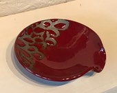 Red Modern Floral Spoon Rest , Pottery