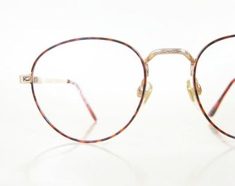 ON SALE Vintage 1980s Round Wire Rim Glasses Womens Ladies Amber Tortoiseshell Red 80s Eighties Indie Hipster Chic Retro Deadstock Geeky Ner