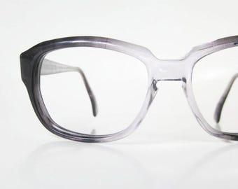 ON SALE 1960s Womens Horn Rim Eyeglass Frames Boxy Glasses Eyeglasses Optical Charcoal Grey Stormy 60s Mod Geek Chic Modern Ladies Geek Chic