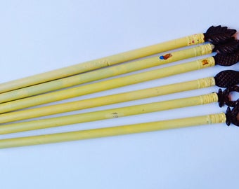 Set of 5 Pencils with Metal Ornaments
