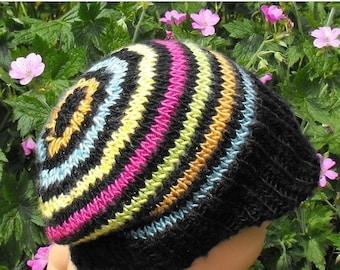 50% OFF SALE Digital file pdf download  knitting pattern Baby Silk Striped Peak Beanie Cap Hat PDF knitting pattern - madmonkeyknits