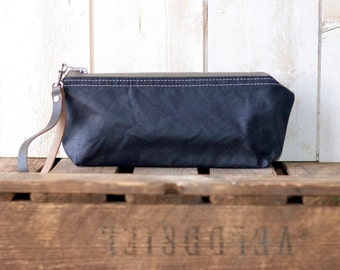 Waxed canvas pouch - waxed canvas bag,black travel pouch, zipper pouch, christmas gift pouch
