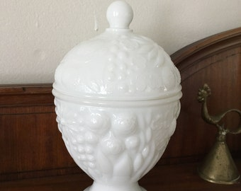 Vintage Milk Glass Candy Dish Egg Shaped Lidded Easter Box Container