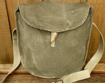Vintage Army Canvas Messenger Bag Satchel - European - Custom Hand Painted Art Available