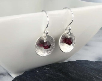 Hammered Disc Earrings with Garnet Gemstones, Sterling Silver - January Birthstone