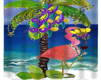 Mardi gras flamingo art shower curtain
