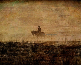 The Cowboy - Cowboy - Working Cowboy- Horse and Rider - Controlled Fire - Flint Hills - Kansas - Fine Art Photography