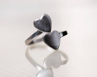 Brushed Silver Heart Ring, Ring for Stamping, Adjustable Ring Blanks, Matte Antiqued Silver, Thumb Ring,