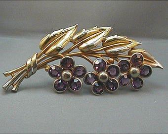 Vintage  Large Amethyst Rhinestone Flower Brooch Pin
