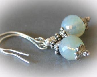 Glass Opal Silver Dangle Earrings.
