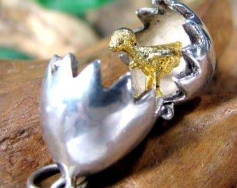 Vintage EGG & GOLD CHICK Sterling Charm Opens Articulated Silver Easter Pendant